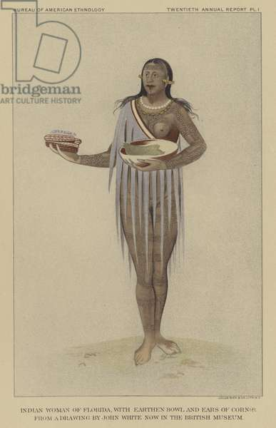 Native American woman of Florida, 16th Century (colour litho)