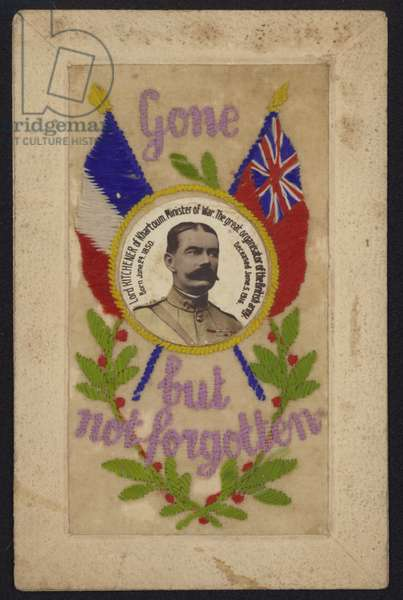 Memorial postcard in honour of British Secretary of State for War Lord Kitchener (colour litho)