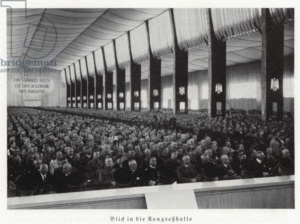 View inside the Congress Hall, Nuremberg Rally, 1936 (b/w photo)