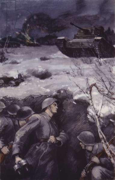Russian soldiers in a trench, World War II (colour litho)