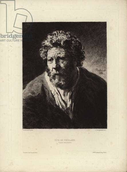 Tete de Viellard by Rembrandt Harmenszoon van Rijn. Engraved by Jules Jacquemart, 1877 (etching)