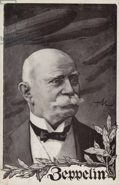 Ferdinand von Zeppelin, German airship pioneer and founder of the Zeppelin Airship Company (litho)