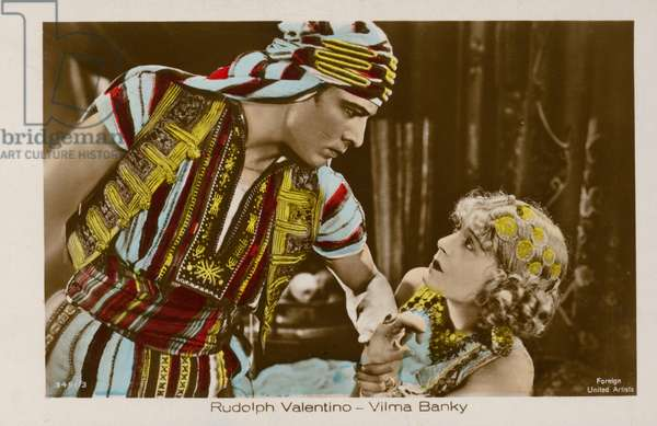 Rudolph Valentino and Vilma Bank in The Son of the Sheikh (coloured photo)