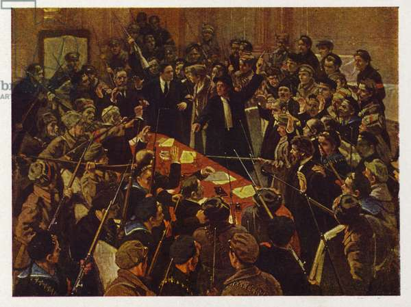 The arrest of the Provisional Government of Russia, Petrograd, Russian Revolution 26 October 1917 (colour litho)