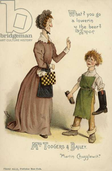 Mrs Todgers and Bailey, from Martin Chuzzlewit, by Charles Dickens (colour litho)