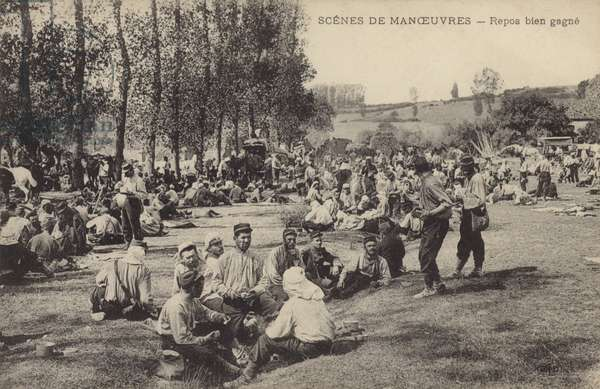 French soldiers enjoying a well-earned rest while on manoeuvres (b/w photo)