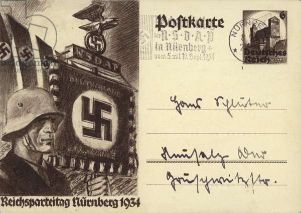 German soldier holding a Nazi standard at Nuremberg Rally, 1934 (litho)