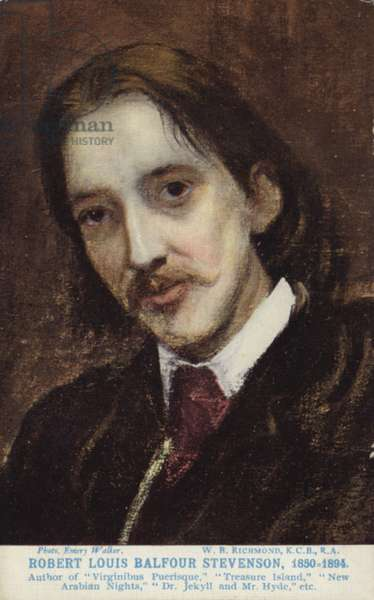 Robert Louis Stevenson (1850-1894), Scottish novelist, poet and travel writer (colour litho)