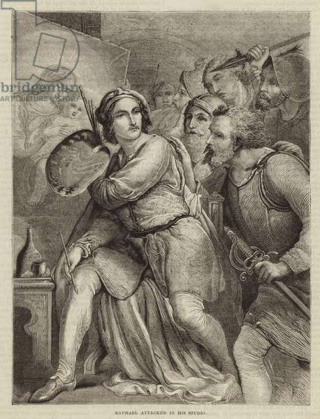 Raphael attacked in his studio (engraving)