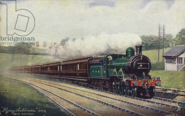 Great Northern Railway Flying Scotsman near Hayfield (colour litho)