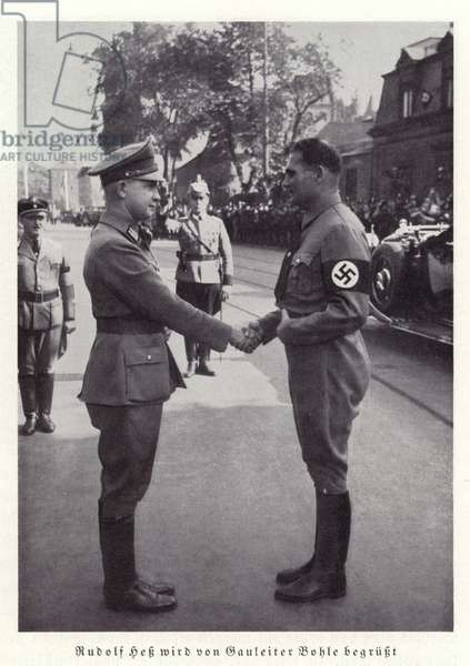 Rudolf Hess greeted by Gauleiter Bohle, Nuremberg, 1936 (b/w photo)