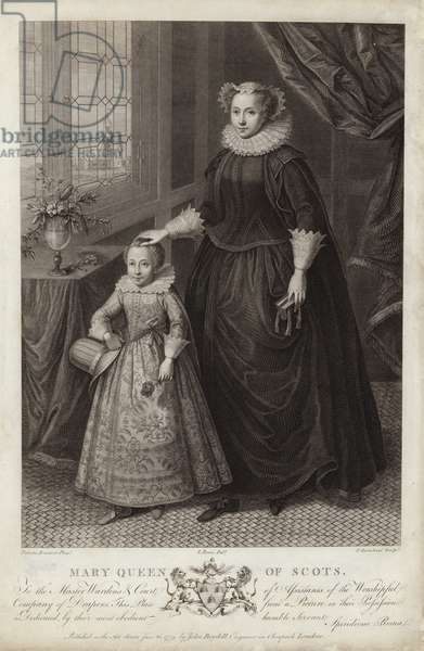 Portrait of Mary, Queen of Scots, and her son, James (engraving)