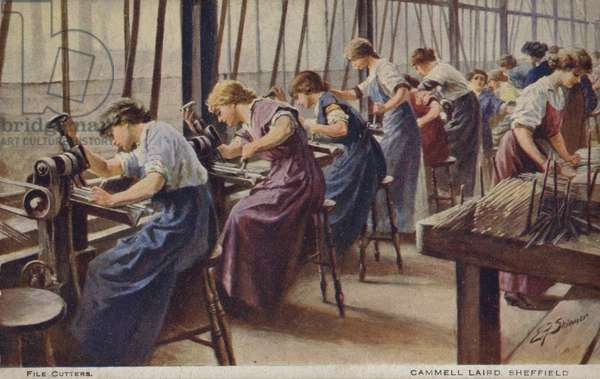 Women working as file cutters for Cammell Laird marine engineers, Sheffield, Yorkshire, 1917 (colour litho)