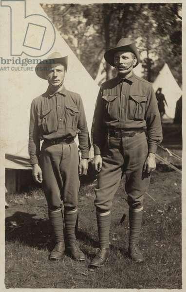 Two ANZAC soldiers, World War I (b/w photo)