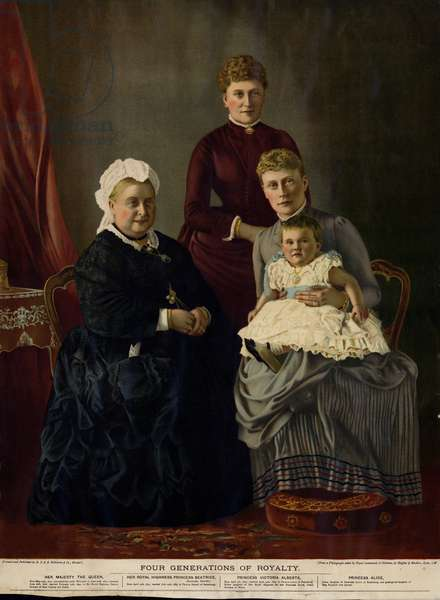 Four Generations of Royalty (Queen Victoria, Princess Beatrice, Princess Victoria Alberta and Princess Alice) (colour litho)