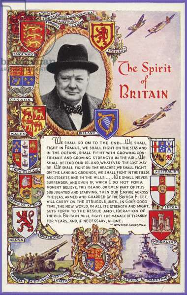 Winston Churchill surrounded by coats of arms of British colonies and with speech (colour litho)