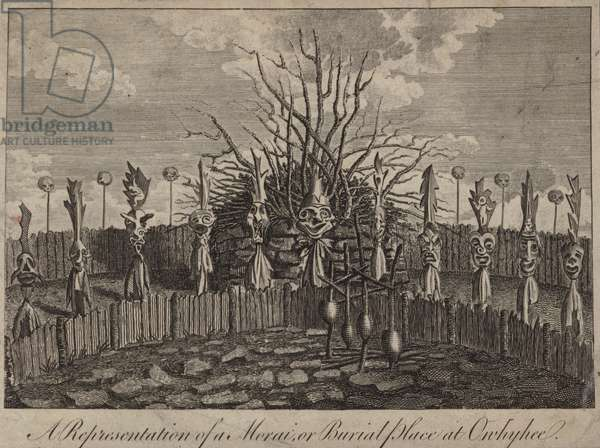 Morai, or burial place, Hawaii (engraving)