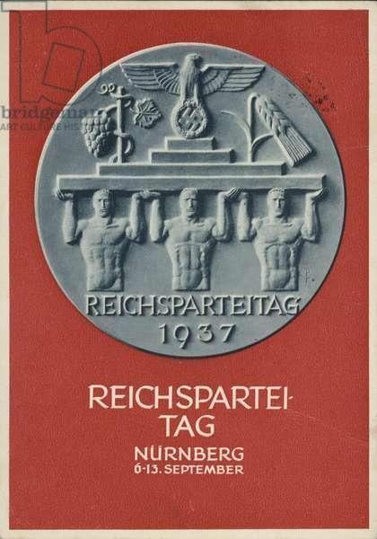 Nuremberg Rally Germany, 1937, Nazi propaganda postcard (colour litho)