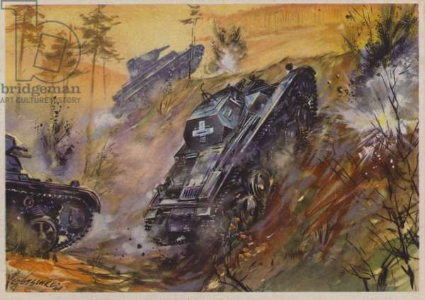 German tanks on the attack, World War II, 1940 (colour litho)