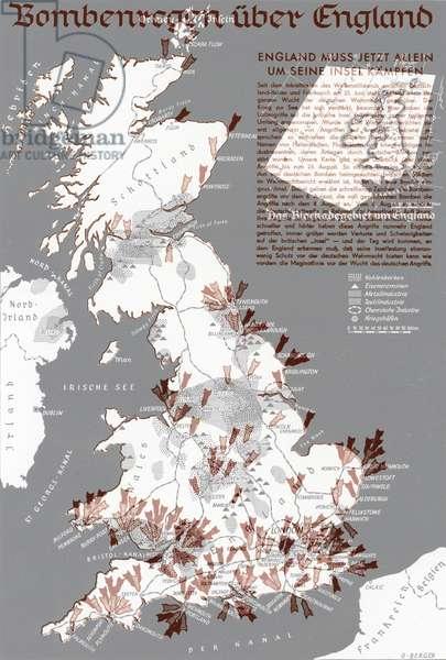 German air attacks on Britain, World War II (colour litho)