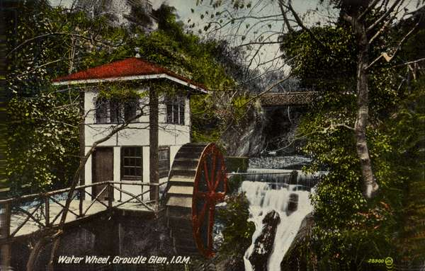 Water wheel, Groudle Glen, Isle of Man (coloured photo)