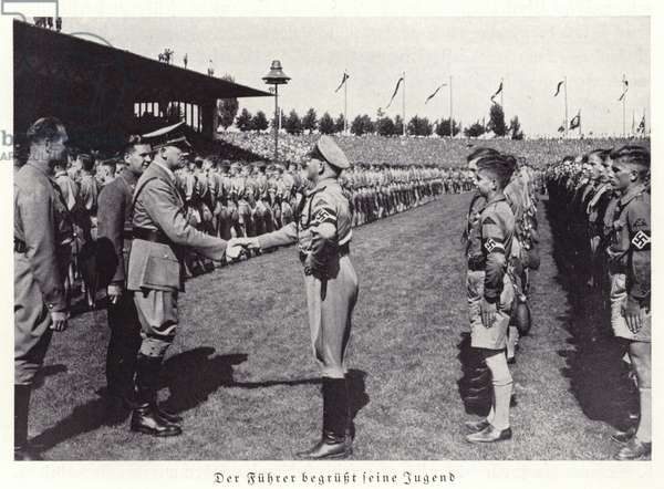 Hitler greeting members of the Hitler Youth, Nuremberg Rally, 1936 (b/w photo)