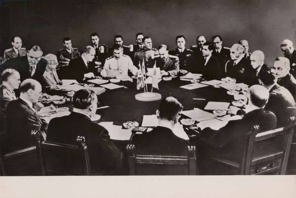 Allied leaders meeting at the Potsdam Conference to decide how to administer Germany after the end of the Second World War, 1945 (b/w photo)