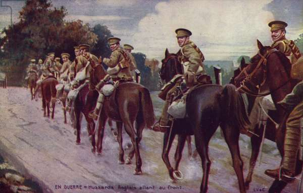 British hussars riding towards the front, World War I (colour litho)