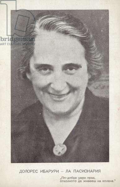 Dolores Ibarruri (La Passionaria), Spanish communist politician and Republican leader during the Spanish Civil War (b/w photo)