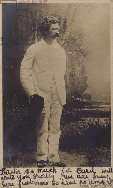 Mark Twain (1835-1910), American writer (b/w photo)