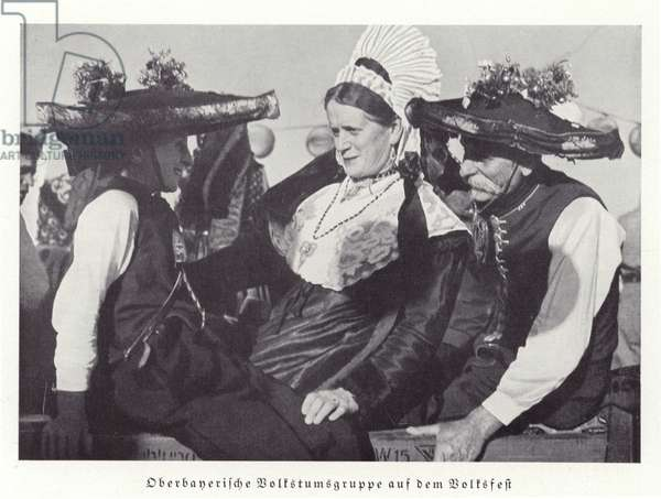 People wearing traditional costume of Upper Bavaria at the Volksfest, Nuremberg Rally, 1936 (b/w photo)
