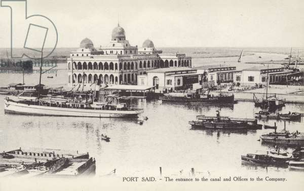Entrance to the Suez Canal and offices of the Suez Canal Company, Port Said, Egypt (b/w photo)