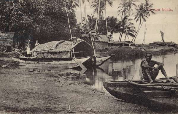 Ceylon Boats (b/w photo)