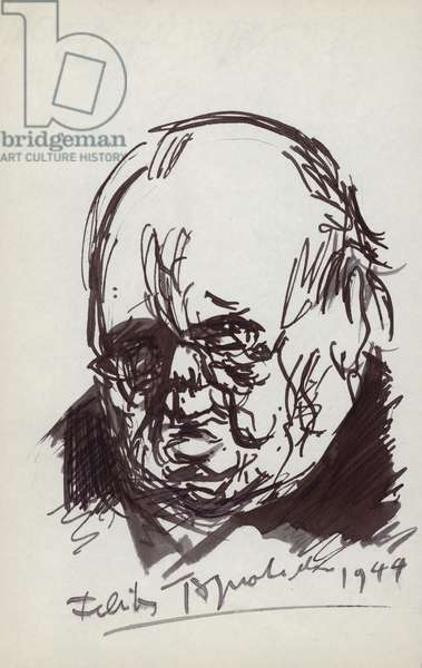 Winston Churchill caricature sketch (pen and ink)