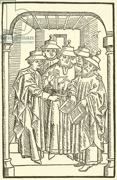 Jews studying in a synagogue (woodcut)