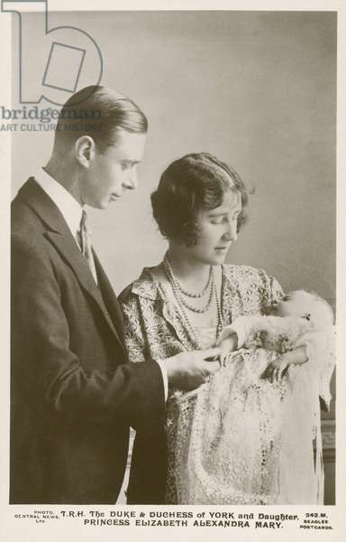 The Duke and Duchess of York with their daughter, Princess Elizabeth, 1926 (b/w photo)