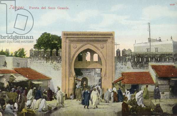 Gateway of the Grand Socco square, Tangier (coloured photo)
