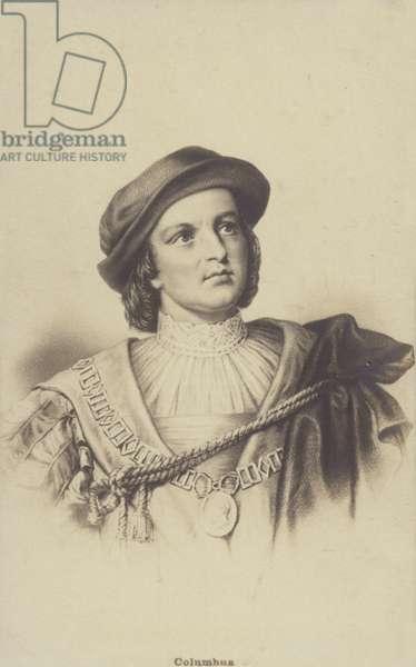 Christopher Columbus (1451-1506), Genoese explorer (litho)