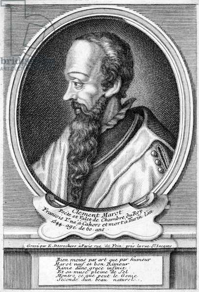 Clement Marot, French Renaissance poet and favourite of King Francis I of France (engraving)