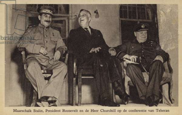 Roosevelt, Churchill and Stalin (b/w photo)