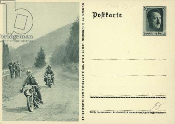 Nazi motorcyclists riding to the Nuremberg Rally, 1930s (b/w photo)