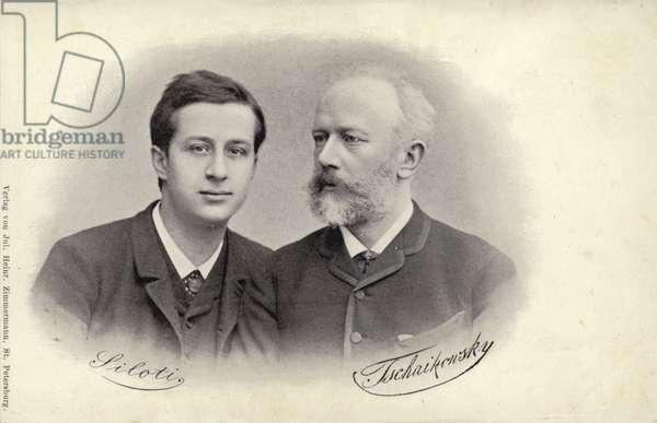 Portrait of Siloti and Tchaikovsky (b/w photo)