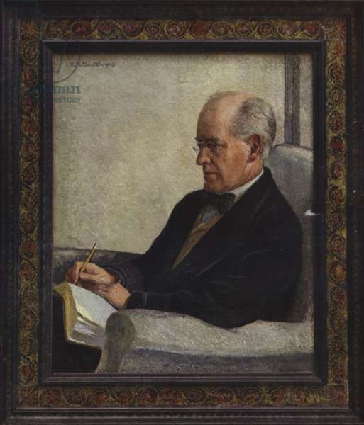 Oil painting of John Galsworthy, English novelist (colour litho)