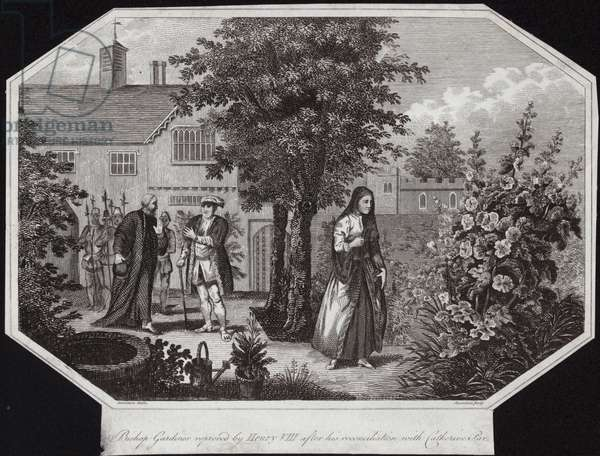 Bishop Gardiner reproved by Henry VIII after his reconciliation with Catherine Parr (engraving)