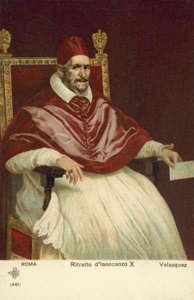 Portrait of Pope Innocent X (colour litho)