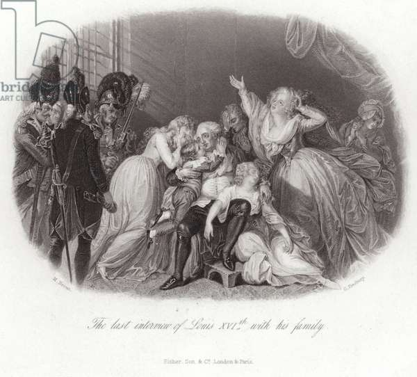 The last interview of Louis XVI with his family (engraving)