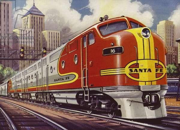 Super Chief train of the Atchison, Topeka & Santa Fe Railway (colour litho)