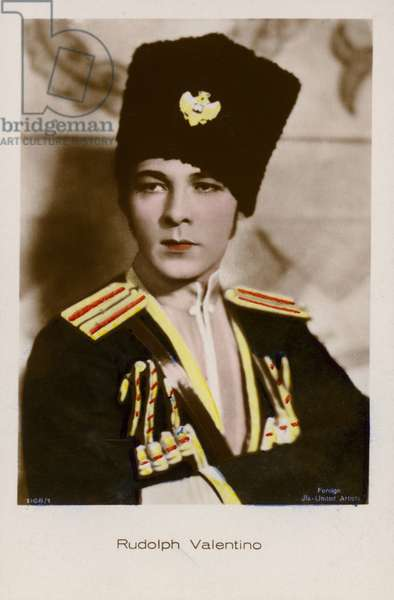 Rudolph Valentino, Italian actor and film star (coloured photo)