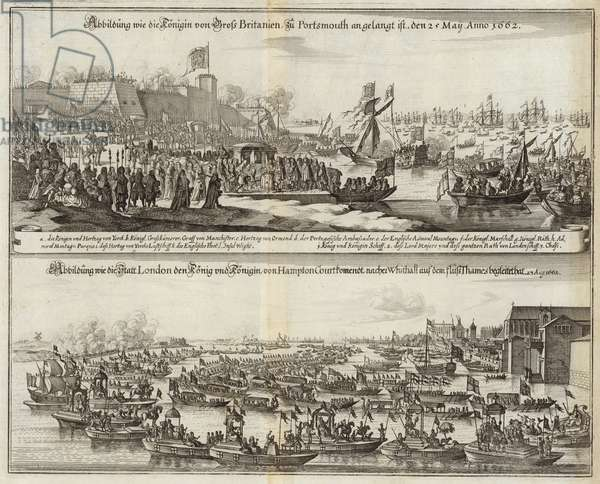Crowds gather for Royals in Britain in 1662 (engraving)