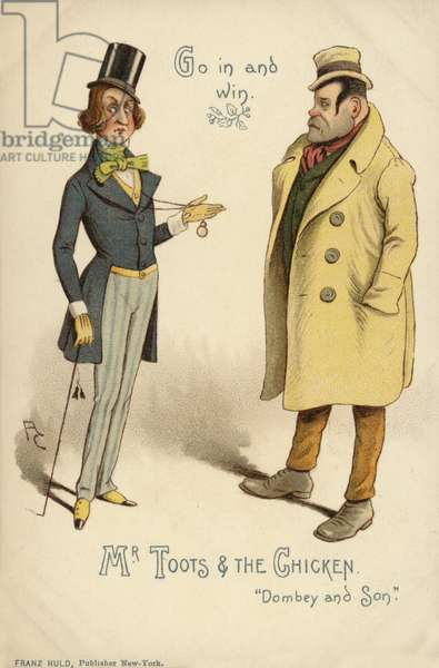 Mr Toots and the Chicken, from Dombey and Son, by Charles Dickens (colour litho)